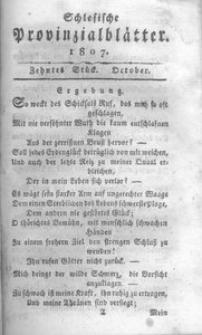 Schlesische Provinzialblätter, 1807, 46. Bd., 10. St.: October