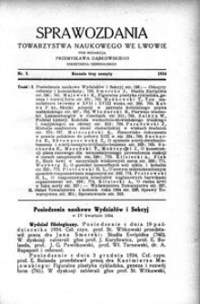 Sprawozdania Towarzystwa Naukowego we Lwowie 1934, R. 14, z. 3