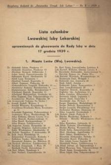 Lista członków Lwowskiej Izby Lekarskiej uprawnionych do głosowania do Rady Izby w dniu 17 grudnia 1939 r.