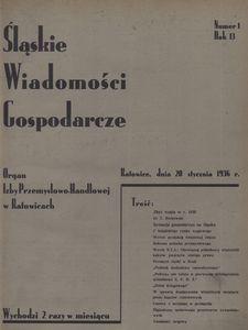 Śląskie Wiadomości Gospodarcze, 1936, R. 13, nr 1