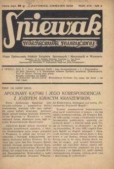 Śpiewak, 1938, R. 19, nr 4