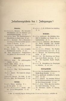 Oberschlesien, 1908, Jg. 7, Inhaltsverzeichnis des 7. Jahrganges