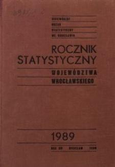 Rocznik Statystyczny Województwa Wrocławskiego, 1989, R. 14
