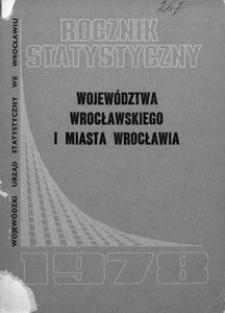 Rocznik Statystyczny Województwa Wrocławskiego i Miasta Wrocławia, 1978, R. 3