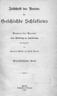 Zeitschrift des Vereins für Geschichte Schlesiens. Namens des Vereins unter Mitwirkung der Schriftleitung, 1927, Bd. 61
