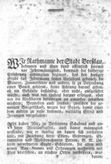 Aufs neu umgefertigte, vermehrte und verbesserte Bau-Ordnung der Stadt Breslau : publiciret im Jahr 1688