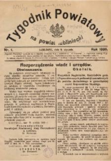 Tygodnik Powiatowy na Powiat Lubliniecki, 1926, nr 1