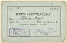 """Legitymacja """"Strzelca"""" w Krakowie Tadeusza Regera"""