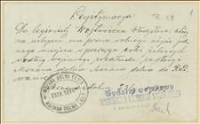 Zaświadczenie zezwalające na przejazd koleją z Mszany Dolnej do Radwanic wystawione dla Władysława Wojtowicza. Mszana Dolna, 23.9.1914