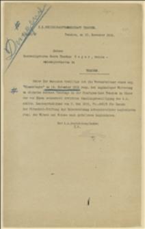 """Pismo c.k. Starostwa w Cieszynie z zezwoleniem na urządzenie w dniu 14.11.1915 r. """"Dnia Kwiatka"""" w Cieszynie z dochodem przeznaczonym na rzecz legionistów. Cieszyn, 12.11.1915 r."""