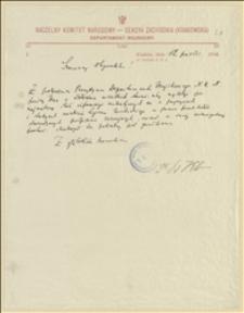 Pismo z z 12.10.1914 r. z poleceniem zebrania materiałów o przyczynach rozbicia Legionu Wschodniego