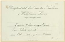 Zaproszenie na herbatę w dniu 29. ?. 1916 w Krakowie zorganizowaną przez prezydenta miasta Krakowa