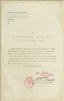 Pismo Departamentu Skarbowego NKN w Krakowie do Zarządów Lig Kobiet przy NKN w sprawach finansowych. Kraków, 13.5.1916