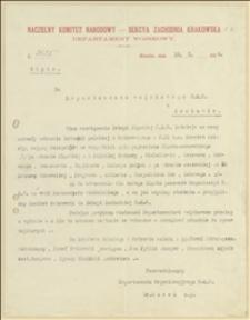 Pismo przewodniczącego Departamentu Wojskowego NKN dr. Marka do Departamentu Wojskowego NKN w Krakowie w sprawie działalności istniejącego w Polskiej Ostrawie Komitetu Ścisłego - 18.10.1914