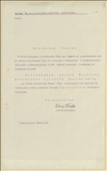Zawiadomienie z 29.10.1914 r. o posiedzeniu Sekcji Śląskiej NKN w Boguminie w dniu 01.11.1914 r.