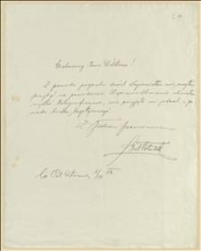 Usprawiedliwienie Bolesława Włodka z nieobecności na posiedzeniu - 01.11.1914