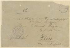 Koperta adresowana do Tadeusza Regera, posła Rady Państwa w Wiedniu, 14.11.1917
