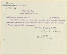 Pismo Departamentu Opieki NKN w Krakowie do Tadeusza Regera o przekazaniu akt opieki nad rodziną Alojzego Śniegonia do Sekcji Śląskiej NKN w Boguminie. Kraków, 5.4.1918