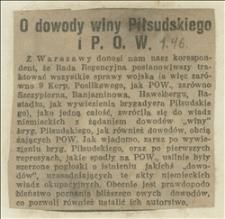 O dowody winy Piłsudskiego i POW