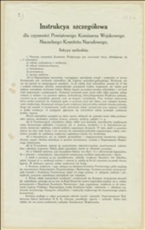 Instrukcya szczegółowa dla czynności Powiatowego Komisarza Wojskowego Naczelnego Komitetu Narodowego. Sekcya Zachodnia