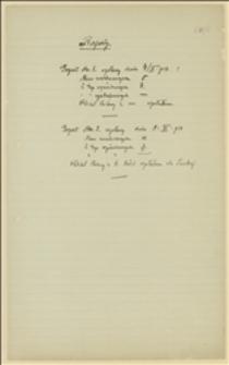 Raporty nt. zwerbowanych legionistów (4, 8.11.1914) oraz protokół marszrut (7-25.11.1914)