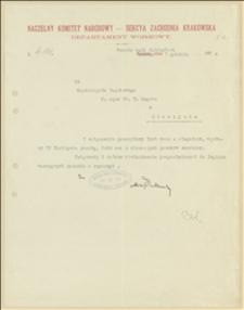 Pismo Departamentu Wojskowego NKN o ponownym przesłaniu zwróconego listu na ręce T. Regera - Nawsie k. Jabłonkowa, 01.12.1914