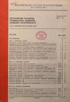 Użytkowanie gruntów, powierzchnia zasiewów, zwierzęta gospodarskie. Wyniki czerwcowego spisu rolnego 1984 r.
