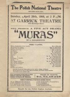 Muras. A Five Act Drama by S. Zahajkiewicz. Program teatralny
