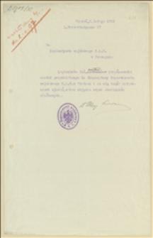 Pismo Departamentu Wojskowego NKN w Wiedniu z rozkazem przekazania inż. Wacława Krzyżanowskiego do służby w Ekspozyturze Departamentu Wojskowego NKN w Wiedniu - Wiedeń, 03.02.1915