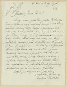 List Krystyny Witeckiej w sprawie załatwienia pensji za męża służącego w Legionach Polskich - Kraków, 10.02.1915