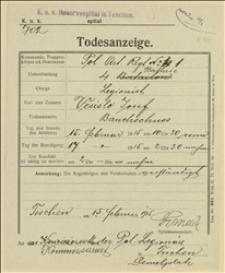 Świadectwo zgonu legionisty Josefa Vcislo w dniu 15.02.1915 w Szpitalu Wojskowym w Cieszynie - 15.02.1915
