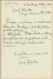 List Józefa Scholty z Bogumina z prośbą o informacje o losach dwóch żołnierzy - 25.02.1915