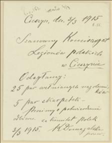 Prośba o potwierdzenie odbioru przesłanych przez Komitet Polek nagolenników i skarpet - 03.03.1915