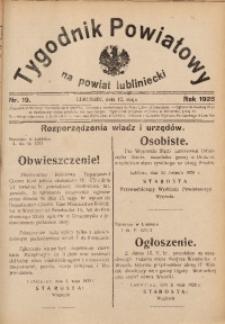 Tygodnik Powiatowy na Powiat Lubliniecki, 1928, nr 19
