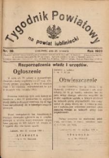 Tygodnik Powiatowy na Powiat Lubliniecki, 1928, nr 39