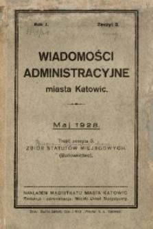 Wiadomości Administracyjne Miasta Katowic, 1928, nr 5