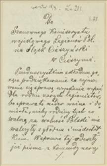 List Hieronima Przepilińskiego do Komisariatu Wojskowego NKN z prośbą o pryśpieszenie starań o zasiłki dla rodzin legionistów