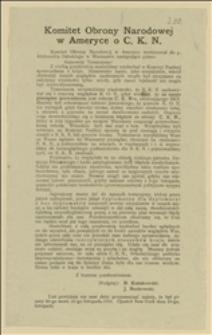 Komitet Obrony Narodowej w Ameryce o C. K. N.
