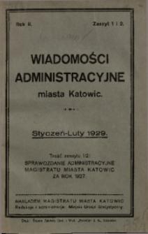 Wiadomości Administracyjne Miasta Katowic, 1929, nr 1/2