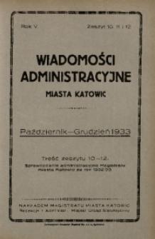 Wiadomości Administracyjne Miasta Katowic, 1933, nr 10/12