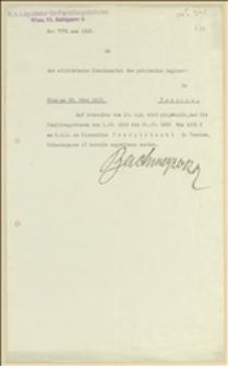 Pismo k.k. Liquidatur fur Familiengebühren w Wiedniu o przesłaniu zasiłku rolniczego dla Klementyny Przepilińskiej za okres od 01.09.1914 - 23.03.1915