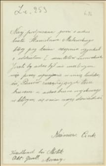 List Kazimiery Cink z Frydlantu koło Mistku poszukującej Stanisława Malawskiego ze Lwowa
