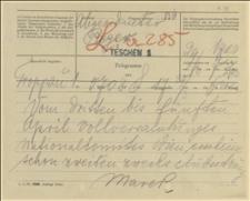 Telegram z Opawy w sprawie posiedzeń NKN w Wiedniu w dniach 03-05.04.1915 - 29.03.1915