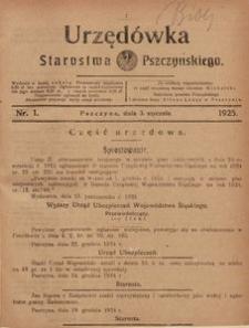 Urzędówka Starostwa Pszczyńskiego, 1925, nr 1