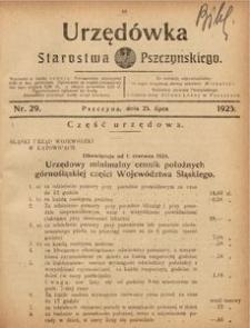 Urzędówka Starostwa Pszczyńskiego, 1925, nr 29