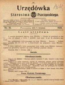 Urzędówka Starostwa Pszczyńskiego, 1925, nr 33