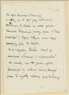 Notatka o aresztowaniu w dniu 17.04.1915 na szybie Franciszki w Karwinie górnika Franciszka Sztwiertni za krytyczne uwagi na temat kartek żywnościowych