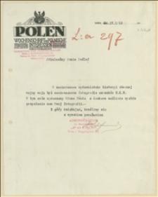 """Pismo redakcji """"Polen"""" do Tadeusza Regera z 24.04.1915 z prośbą o przysłanie 2 fotografii, odpowiedź Regera z 03.05.1915"""