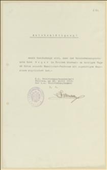 Potwierdzenie odbioru od Tadeusza Regera 48 magazynków do karabinów dla Starostwa w Cieszynie - 28.04.1915