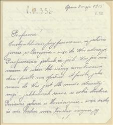 List T. Sierpniewskiego ze szpitala w Opawie do prof. K. Kwiecińskiego w sprawie przesłania orzełka - 02.05.1915